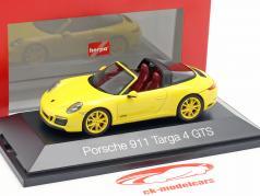 Porsche 911 (991 II) Targa 4 GTS année de construction 2016 racing jaune 1:43 Herpa