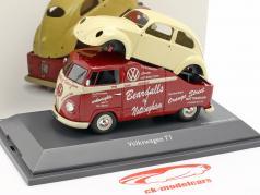 Volkswagen VW T1a Bus mit VW Käfer Karosserie rot / creme weiß 1:43 Schuco