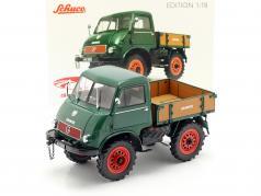 Mercedes-Benz Unimog 401 ano de construção 1953-56 verde 1:18 Schuco