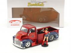 Chevy Coe Pick-Up 1952 com figura Wonder Woman DC Comics 1:24 Jada Toys