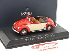 Volkswagen VW Hebmüller Cabriolet Opførselsår 1949 rød / creme hvid 1:43 Norev