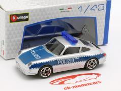 Porsche 911 Carrera polícia prata / azul 1:43 Bburago