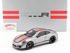 Porsche 911 (991) R ano 2016 prata / vermelho com mostruário 1:18 Spark