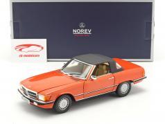 Mercedes Benz 300 SL Cabriolet (R107) year 1986 inca red 1:18 Norev