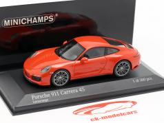 Porsche 911 (991 II) Carrera 4S ano de construção 2016 lava laranja 1:43 Minichamps