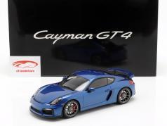 Porsche Cayman GT4 con vetrina anno 2015 blu 1:18 GT-SPIRIT