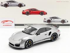 Porsche 911 (991) Turbo S Exclusive GB RHD silver with Showcase 1:18 GT-Spirit