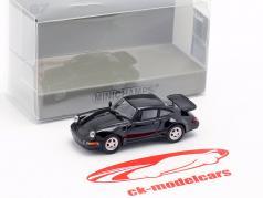 Porsche 911 Turbo (964) ano de construção 1990 preto 1:87 Minichamps