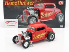 Blown Ford Three Window Flamethrower Hot Rod 1932 vermelho 1:18 GMP