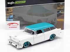 Chevrolet Nomad Construction year 1955 white / turquoise 1:18 Maisto