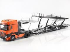 Set Mercedes-Benz Actros with Lohr car transporter orange / silver 1:18 NZG