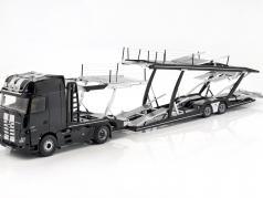 Set Mercedes-Benz Actros with Lohr car transporter black / grey / silver 1:18 NZG