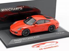 Porsche 911 (991 II) Carrera 4 GTS ano de construção 2017 lava laranja 1:43 Minichamps