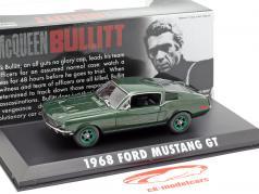 Ford Mustang GT ano de construção 1968 filme Bullitt (1968) verde metálico / verde jantes 1:43 Greenlight