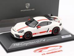 Porsche 718 Cayman GT4 Sports Cup Edition  branco / vermelho 1:43 Minichamps