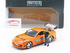 Brian's Toyota Supra 1995 film Fast & Furious (2001) avec figure 1:24 Jada Toys