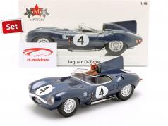 Set: Jaguar D-Type #4 勝者 24h LeMans 1956 とともに ドライバ フィギュア 1:18 CMR