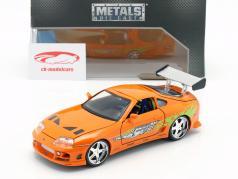 Brian's Toyota Supra de o Filme Fast e Furioso 7 2015 laranja 1:24 Jada Toys
