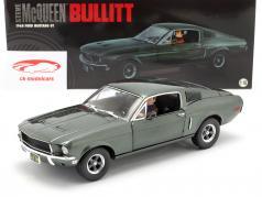 Ford Mustang GT filme Bullitt 1968 com figura verde 1:18 Greenlight