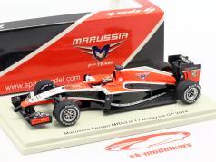 Jules Bianchi Marussia MR03 #17 Malásia GP fórmula 1 2014 1:43 Spark