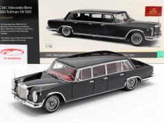 Mercedes-Benz 600 Pullman (W100) sedan ano de construção 1963-81 preto 1:18 CMC