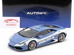 Lamborghini Huracan LP610-4 policía año de construcción 2014 azul / blanco 1:18 AUTOart