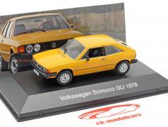 Volkswagen VW Scirocco GLI Bouwjaar 1978 geel 1:43 Altaya