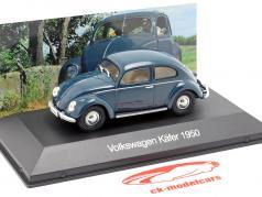 Volkswagen VW escarabajo año de construcción 1950 azul oscuro 1:43 Altaya