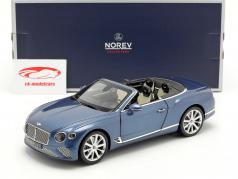 Bentley Continental GT Convertible Baujahr 2019 kristallblau metallic 1:18 Norev