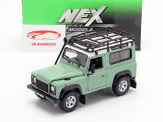 Land Rover Defender met dak rek groen / wit 1:24 Welly