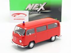 Volkswagen VW T2 Bus brandweer Bouwjaar 1972 rood 1:24 Welly