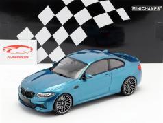 BMW M2 Competition año de construcción 2019 azul metálico 1:18 Minichamps