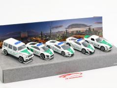 5-Car Set Dubai Police blanc / vert 1:64 Majorette