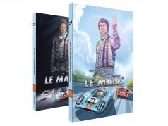Comic-Set: Steve McQueen in LeMans + En Steve McQueen aangemaakt LeMans / door Sandro Garbo