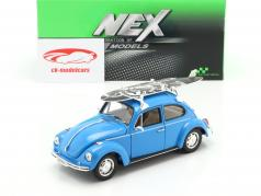 Volkswagen VW Beetle with black and white surfboard year 1959 blue 1:24 Welly