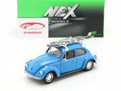 Volkswagen VW coléoptère avec noir et blanc planche de surf année de construction 1959 bleu 1:24 Welly