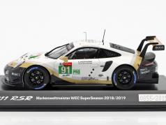 Porsche 911 RSR #91 campeão do mundo WEC SuperSeason 2018/2019 24hLeMans 1:43 Spark