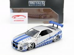 Nissan Skyline GT-R (R34) aus dem Film 2 Fast 2 Furious 2003 1:24 Jada Toys