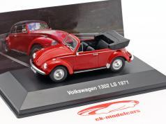 Volkswagen VW bille 1302 LS Cabriolet Opførselsår 1971 rød 1:43 Altaya