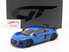 Audi R8 Performance Parts ano de construção 2018 azul 1:18 GT-Spirit