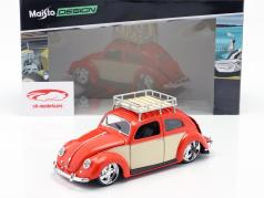 Volkswagen VW Beetle year 1951 red / cream white 1:18 Maisto