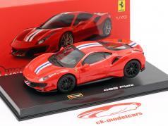Ferrari 488 Pista année de construction 2018 corsa rouge métallique 1:43 Bburago