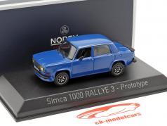 Simca 1000 Rallye 3 prototype année de construction 1978 talbot bleu 1:43 Norev