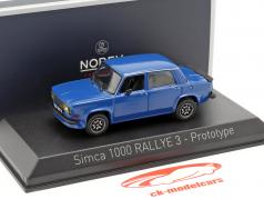 Simca 1000 Rallye 3 protótipo ano de construção 1978 Talbot azul 1:43 Norev