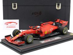 S. Vettel Ferrari SF90 #5 4th australiano GP F1 2019 com mostruário e couro Box 1:18 BBR