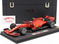 C. Leclerc Ferrari SF90 #16 quinto australiano GP F1 2019 con escaparate y Caja de cuero 1:18 BBR