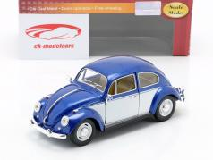 Volkswagen VW Classic Beetle année 1967 bleu / blanc 1:24 Kinsmart