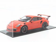 Porsche 911 (991) GT3 RS lave orange avec vitrine 1:12 Spark / 2. élection