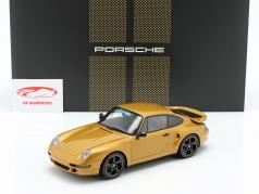 Porsche 911 (993) Turbo Classic Series Project Gold avec vitrine 1:18 Spark