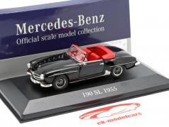 Mercedes-Benz 190 SL (W121) año de construcción 1955 negro 1:43 Atlas